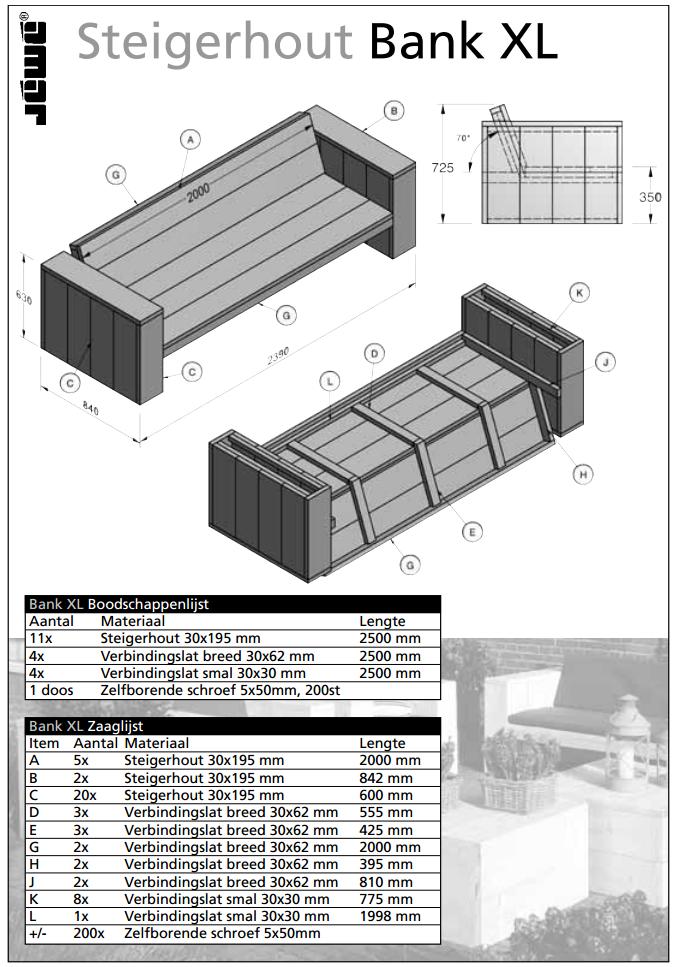 Bouwtekening houten bank xl klus stappenplan maakk - Bank terras hout ...